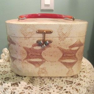 1950s Bucket Handbag Box Purse Faux Snakeskin